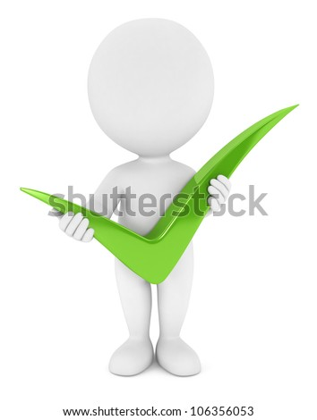 3d white people holding a positive green check mark, isolated white background, 3d image