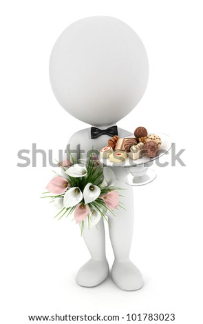 3d white people invited to the wedding with flowers , chocolate mix on a glass plate and wearing a bow tie, isolated white background, 3d image - stock photo