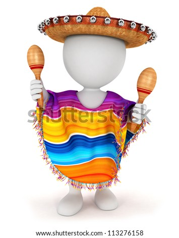 3d white people mexican with a sombrero, a poncho and playing maracas, isolated white background, 3d image