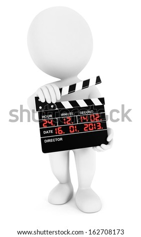 3d white people movie clapper, isolated white background, 3d image