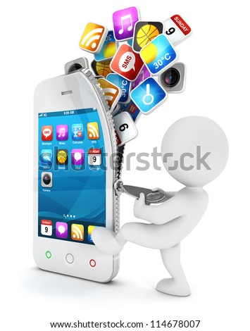 3d white people opens a smartphone with cloud of application icons, isolated white background, 3d image