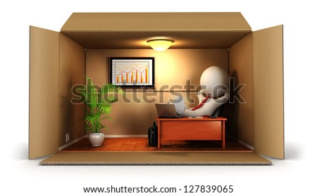 3d white people opens his business, isolated white background, 3d image