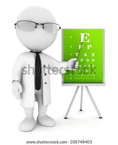 3d white people optician pointing an eye chart, isolated white background, 3d image