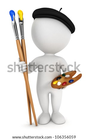 3d white people painter with paint brushes and palette, isolated white background, 3d image