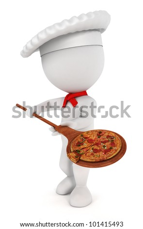 3d white people pizza cook with  a pizza , a spatula and a chef hat