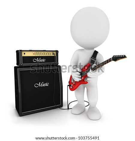3d white people playing red electric guitar near an amp, isolated white background, 3d image