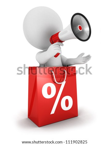 Shutterstock 3d white people sale announcement with megaphone inside shopping bag, isolated white background, 3d image
