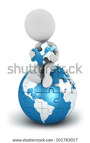 3d white people seated on blue earth puzzle with a piece in the hands, isolated white background, 3d image