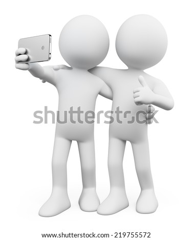 3D white people Selfie photo with a friend Mobile Isolated white background