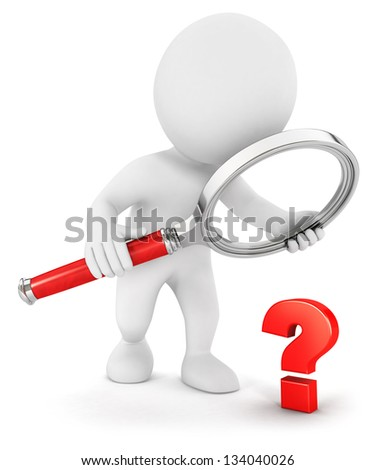 3d white people small question, isolated white background, 3d image