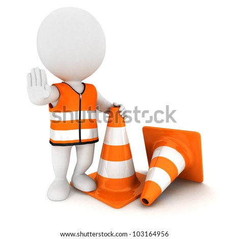 3d white people stop sign with traffic cones and wearing a safety vest, isolated white background, 3d image