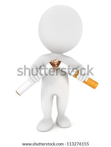 3d white people stopped smoking, isolated white background, 3d image
