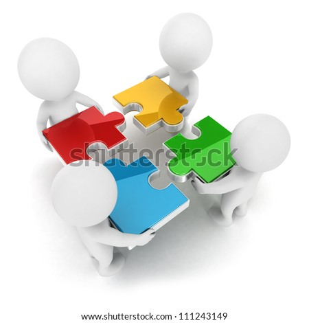 3d white people team assemble four color piece of a puzzle, isolated white background, 3d image
