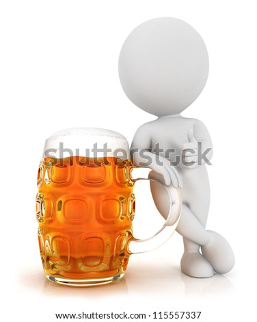 3d white people with a beer in a positive pose, isolated white background, 3d image