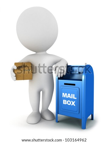 3d white people with a mail package and be leaning against a mailbox, isolated white background, 3d image