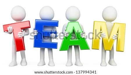 3d white people with team word. Isolated white background.