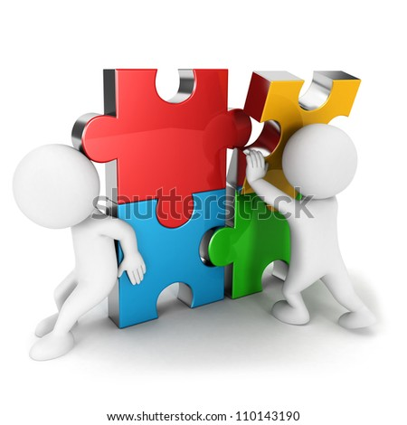 3d white people work together, assemble four color puzzle piece, isolated white background, 3d image