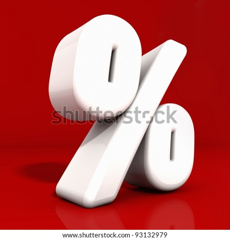 3d white percentage icon with rounded edges and reflection obliquely angled on red