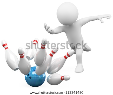 3d white person bowling having fun. 3d image. Isolated white background.