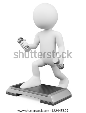 3d white person doing aerobics with weights and steps. 3d image. Isolated white background.