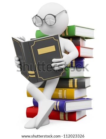3d white person leaning on a pile of books reading. 3d image. Isolated white background.