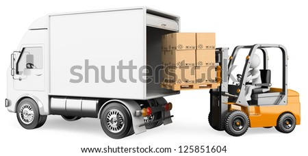 3d white person loading a truck with a forklift truck . 3d image. Isolated white background.