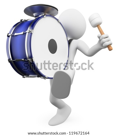 3d white person marching and playing the drum. 3d image. Isolated white background.