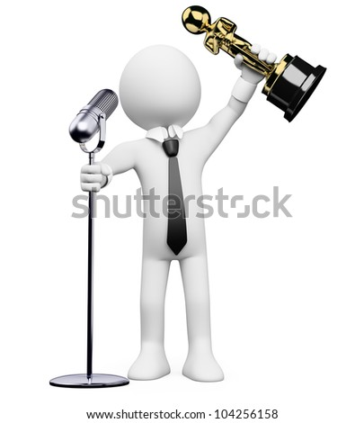 3d white person receiving an award at the  ceremony with a microphone. 3d image. Isolated white background.