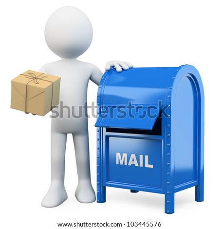 3d white person sending a package in a mail box. 3d image. Isolated white background.