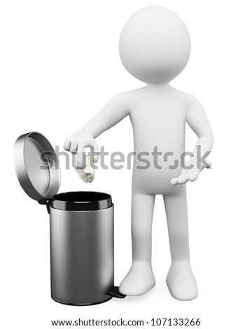 3d white person throwing a paper into the waste paper basket . 3d image. Isolated white background.