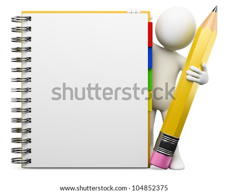 3d white person with blank spiral notepad and a pencil. 3d image. Isolated white background.