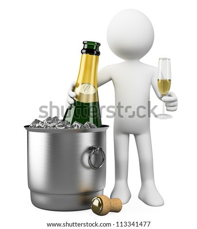 3d white person with champagne bottle in bucket with ice and glass of champagne. 3d image. Isolated white background.
