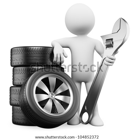3d white person with tires and a wrench. 3d image. Isolated white background.