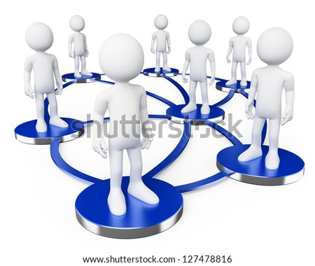 3d white persons in social networks . 3d image. Isolated white background.
