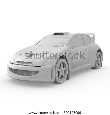 3d white sport car isolated on white background