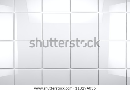 3d white tile wall background