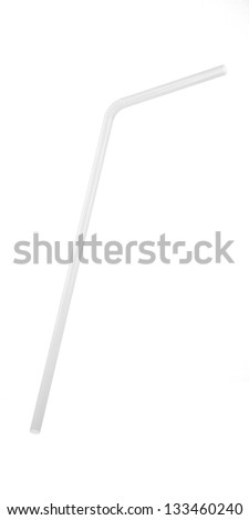 3D White Transparent  Drinking Straw Isolated on White