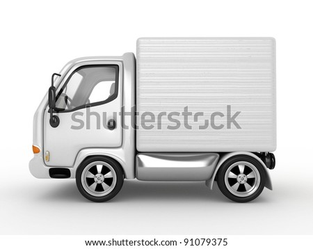 3D White Van isolated