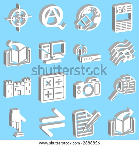 3d white web icons. Raster version