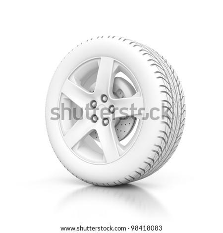 3D white wheel isolated on white background - stock photo