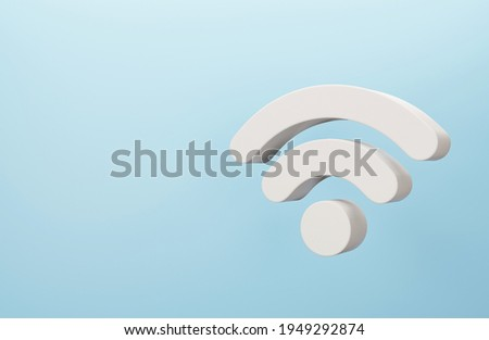3D wifi wireless symbol. Abstract wifi icon on blue background. 3d rendering. Photo stock ©