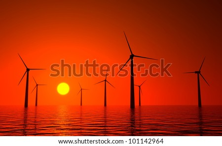 3d wind turbines producing energy in the sea, sunset