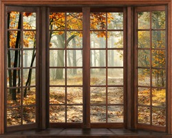 3d window view. Autumn landscape.
