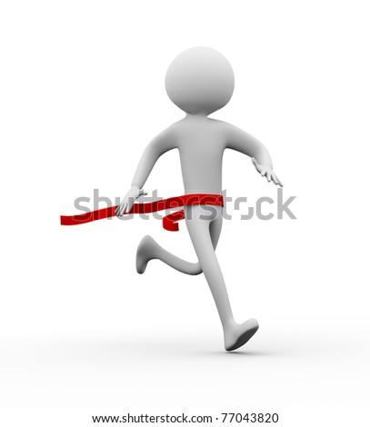 3D winner man on a finish line