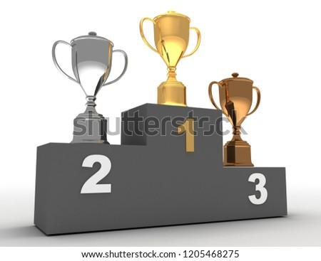 3D winner podium . Winner podium concept.3D illustration
