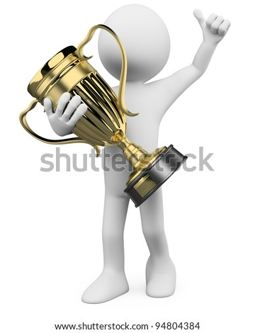 3D Winner with a gold trophy in the hands. Rendered at high resolution on a white background with diffuse shadows.