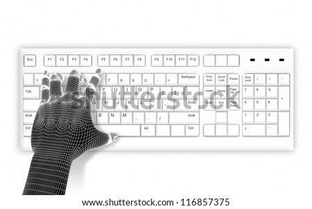 3d wire-frame hands typing on a white keyboard