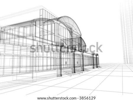 3D wire-frame of office building Concept modern architecture designing.
