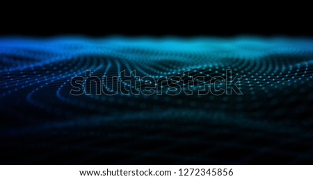 3D Wireframe Abstract Background Render With Moving Lines - Technology And Internet Connection Concept