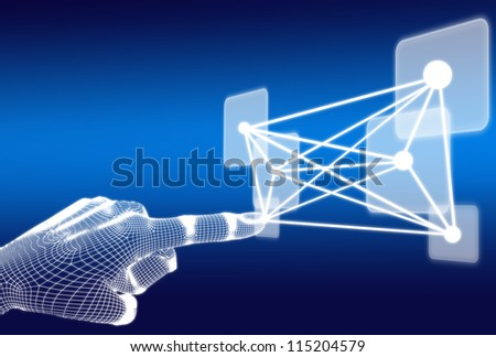 3d wireframe hand push button network on blue background